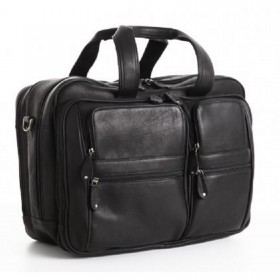 "Woodland Leather Satchel Briefcase 15.6"" Laptop"